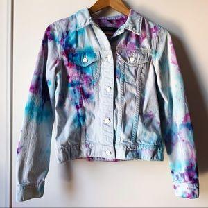 J Brand tie dye light blue jean jacket size XS